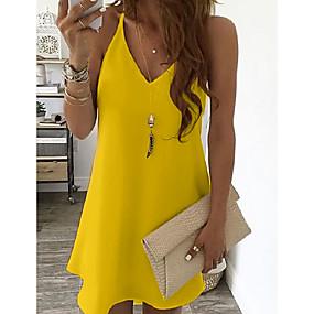 cheap -Women's Strap Dress Short Mini Dress Blue Yellow Blushing Pink White Black Light Blue Sleeveless Solid Color Summer V Neck Casual Sexy 2021 S M L XL XXL 3XL