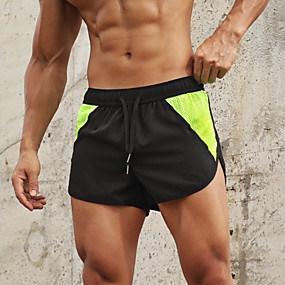 cheap -Men's Running Shorts Athleisure Bottoms Split Drawstring Fitness Gym Workout Running Jogging Training Breathable Quick Dry Soft Sport Black / Orange Black Camouflage Black / White Black / Green Black
