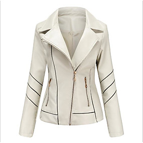 cheap -Women's Solid Colored Spring &  Fall Faux Leather Jacket Regular Daily Long Sleeve PU Coat Tops White