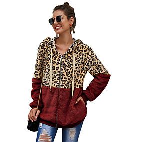 cheap -Women's Pullover Hoodie Sweatshirt Zip Up Hoodie Sweatshirt Teddy Coat Leopard Cheetah Print Daily Casual Hoodies Sweatshirts  Loose White Black Wine