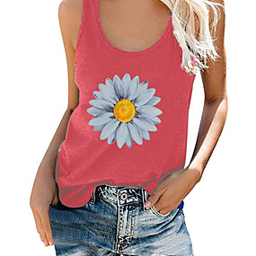 cheap -Women's Tank Top Floral Solid Colored Flower Print Round Neck Tops Loose Cotton Basic Basic Top Blue Purple Red