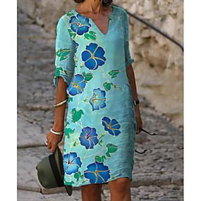 preiswerte -Damen Etuikleid Knielanges Kleid - Halbe Ärmel Blumen Druck Sommer V-Ausschnitt heiß Freizeit Urlaubskleider Lose 2020 Blau M L XL XXL 3XL
