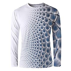 preiswerte -Herren T-Shirt Grafik Druck Langarm Alltag Oberteile Grundlegend Elegant Blau