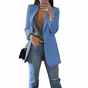 abordables -Femme veste Couleur unie Classique Chic et moderne Polyester Décontracté Taille Asiatique Manteau Hauts Vin / Revers en Pointe / Printemps