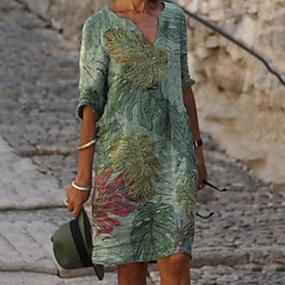 abordables -Femme Robe Droite Robe Longueur Genou Vert Demi Manches Feuille Imprimé Printemps Eté Col en V chaud Simple robes de vacances Ample 2021 M L XL XXL 3XL