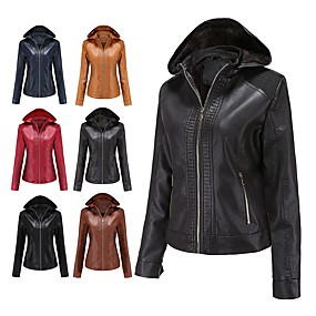 cheap -Women's Faux Leather Jacket Regular Solid Colored Daily Basic Black Red Camel Dusty Blue XS S M L