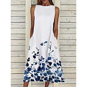 cheap -Women's Shift Dress Midi Dress Yellow Blushing Pink White Sleeveless Floral Print Summer Round Neck Hot Elegant Casual Loose 2021 S M L XL XXL 3XL 4XL