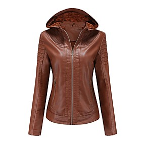 cheap -Women's Faux Leather Jacket Regular Solid Colored Daily Basic Black Red Camel Brown XS S M L