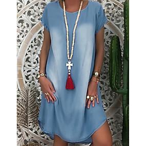 cheap -Women's Denim Dress Knee Length Dress Blue Gray Black Light Blue Short Sleeve Solid Color Summer Round Neck Chic & Modern Hot Casual Loose 2021 S M L XL XXL 3XL