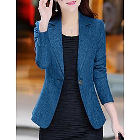abordables -Femme veste Couleur Pleine basique Autres Quotidien Grandes Tailles Manteau Hauts Bleu / Revers Cranté
