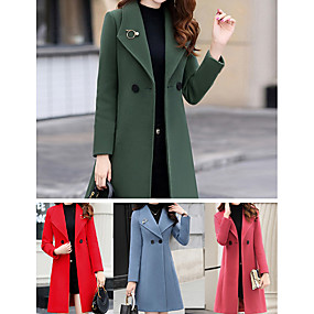 cheap -Women's Solid Colored Fall Coat Long Daily Long Sleeve Polyester Coat Tops Red