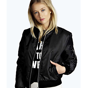 cheap -Women's Solid Colored Sporty Fall & Winter Jacket Regular Daily Polyester Coat Tops Black
