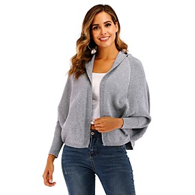 cheap -Women's Basic Knitted Hooded Solid Colored Cardigan Long Sleeve Loose Sweater Cardigans Hooded Fall Winter Beige Gray
