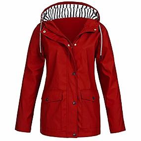 cheap -jacket for women,women solid rain jacket outdoor plus waterproof hooded raincoat red