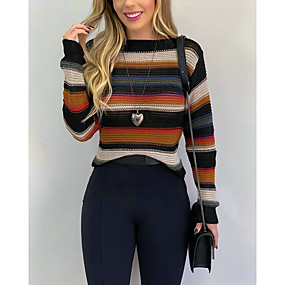 cheap -Women's Basic Striped Color Block Sweater Long Sleeve Sweater Cardigans Crew Neck Round Neck Winter Blushing Pink Khaki