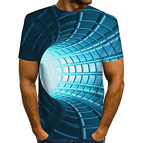preiswerte -Herren T-Shirt 3D-Druck Grafik 3D-Druck Druck Kurzarm Alltag Oberteile Grundlegend Übertrieben Blau Purpur Rote