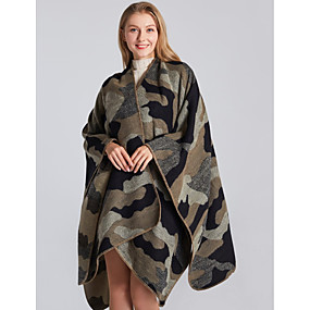 cheap -Women's Spring Cloak / Capes Regular Camo / Camouflage Daily Basic Black Purple Camel Khaki One-Size / Fall & Winter