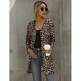 cheap -Women's Jacket Fall Spring Long Coat Regular Fit Jacket Long Sleeve Leopard Print Brown