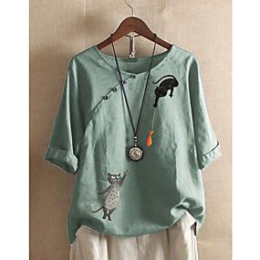 cheap -Women's Blouse Shirt Cat Print Boat Neck Tops Cotton Basic Basic Top White Blue Blushing Pink