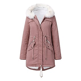 cheap -Women's Fur Trim Solid Colored Fall & Winter Basic Long Coat Daily Polyester Long Sleeve Coat Tops