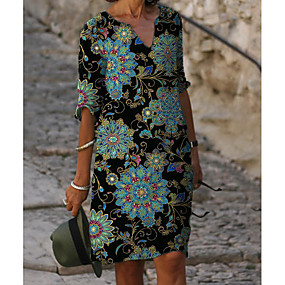 cheap -Women's Shift Dress Knee Length Dress - Half Sleeve Floral Print Summer V Neck Hot Casual vacation dresses Loose 2020 Blue M L XL XXL 3XL