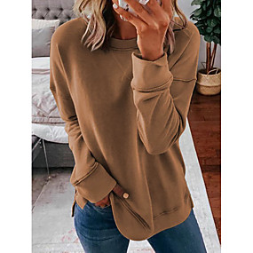 cheap -Women's Pullover Sweatshirt Solid Colored Daily Basic Hoodies Sweatshirts  Cotton Loose Oversized Blue Blushing Pink Khaki