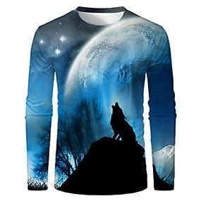 cheap -Men's T shirt 3D Print Graphic Print Long Sleeve Daily Tops Basic Round Neck Blue