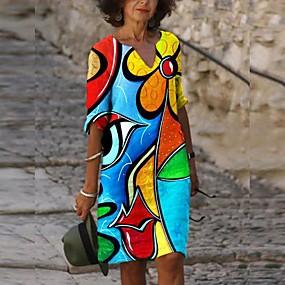 cheap -Women's Shift Dress Knee Length Dress - Long Sleeve Print Print Fall Hot Vintage Sexy vacation dresses 2021 Blue S M L XL XXL 3XL 4XL 5XL