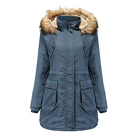 cheap -Women's Padded Parka Solid Colored Long Polyester Blue / Red / Khaki M / L / XL