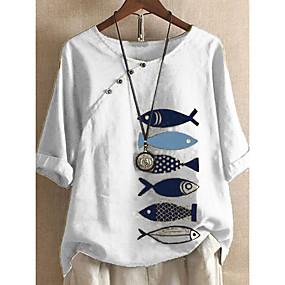 cheap -Women's Blouse Shirt Animal Print Boat Neck Tops Cotton Basic Basic Top White Blue