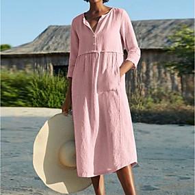 cheap -Women's A Line Dress Midi Dress Blushing Pink Wine Black Light Blue 3/4 Length Sleeve Solid Color Pocket Summer Shirt Collar Work Hot Casual Loose Linen S M L XL XXL 3XL 4XL 5XL