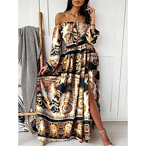 cheap -Women's Swing Dress Maxi long Dress Blushing Pink Khaki Long Sleeve Print Split Print Summer Off Shoulder Hot Sexy Party vacation dresses 2021 S M L XL XXL 3XL