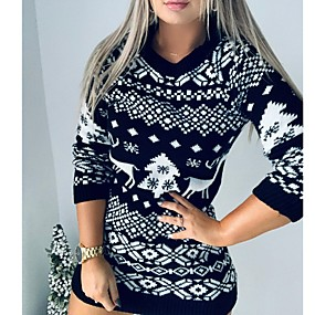 cheap -Women's Sweater Jumper Dress Short Mini Dress - Long Sleeve Animal Fall Winter Casual Christmas Cotton 2020 Black Red S M L XL XXL