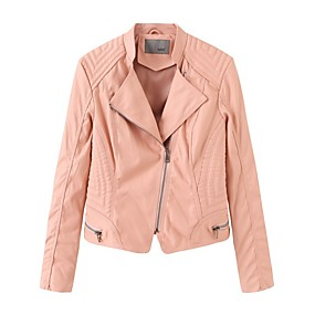 cheap -Women's Stand Collar Faux Leather Jacket Regular Solid Colored Daily Basic Black Yellow Blushing Pink Khaki S M L XL