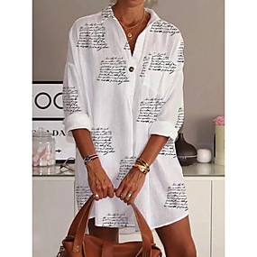 cheap -Women's Blouse Shirt Letter Long Sleeve Shirt Collar Tops Basic Top White
