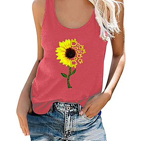 cheap -Women's Tank Top Floral Flower Print Round Neck Tops Loose Cotton Basic Basic Top Blue Purple Red