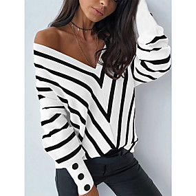 cheap -Women's Stylish Deep V Knitted Button Striped Pullover Long Sleeve Sweater Cardigans V Neck Fall White Black Light Brown
