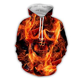 preiswerte -Herren Pullover Hoodie Sweatshirt Grafik Totenkopf Motiv Mit Kapuze Halloween Alltag Wochenende 3D-Druck Grundlegend Freizeit Kapuzenpullover Sweatshirts Gelb