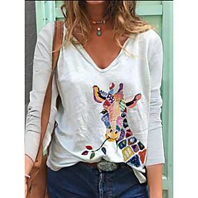 cheap -Women's T-shirt Giraffe Long Sleeve Print V Neck Tops Loose Cotton Basic Basic Top White Blue Blushing Pink