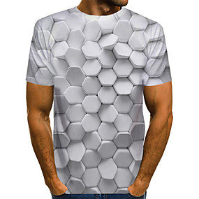 cheap -Men's T shirt Graphic Optical Illusion Print Short Sleeve Daily Tops Basic Exaggerated Round Neck White