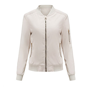 cheap -Women's Solid Colored Basic Spring &  Fall Jacket Short Daily Long Sleeve Polyester Coat Tops White