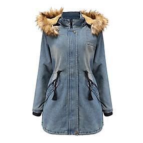preiswerte -Damen Herbst Winter Jeansjacke Lang Solide Alltag Grundlegend Baumwolle Blau Staubiges Blau M L XL XXL
