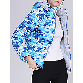 cheap -Women's Padded Parka Camouflage Nylon Army Green / Fuchsia / Light Blue M / L / XL