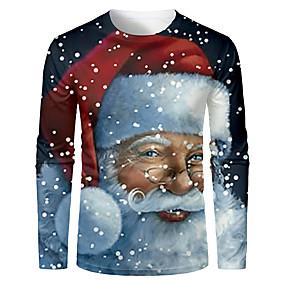 preiswerte -Herren T-Shirt 3D-Druck Grafik 3D Langarm Weihnachten Oberteile Grundlegend Schwarz / Gray