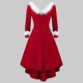 preiswerte -Damen Swing Kleid Midikleid - Langarm Volltonfarbe Patchwork Winter V-Ausschnitt Elegant Party Baumwolle 2020 Rote S M L XL XXL