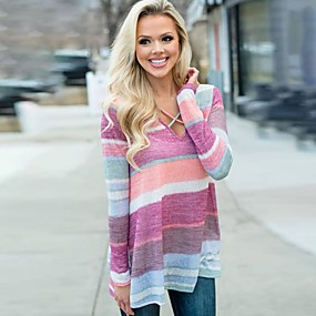 cheap -Women's T-shirt Color Block Long Sleeve V Neck Tops Basic Basic Top Rainbow
