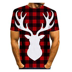preiswerte -Herren T-Shirt 3D-Druck Grafik Einfarbig 3D Kurzarm Weihnachten Oberteile Grundlegend Schwarz / Rot