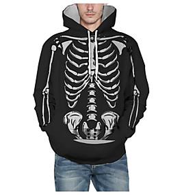 preiswerte -Herren Pullover Hoodie Sweatshirt Grafik Totenkopf Motiv Mit Kapuze Halloween Alltag 3D-Druck Grundlegend Kapuzenpullover Sweatshirts Langarm Schwarz