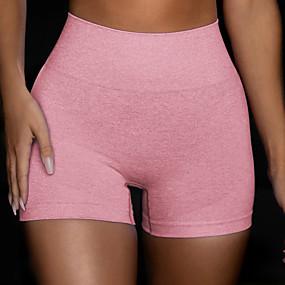 cheap -Women's Sporty Yoga Breathable Skinny Shorts Pants Solid Colored Short High Waist Purple Orange Green