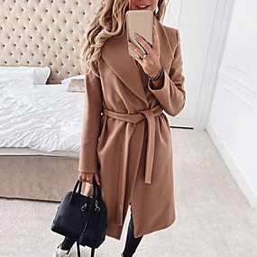 cheap -Women's Solid Colored Fall & Winter Basic Long Coat Daily Polyster Long Sleeve Coat Tops